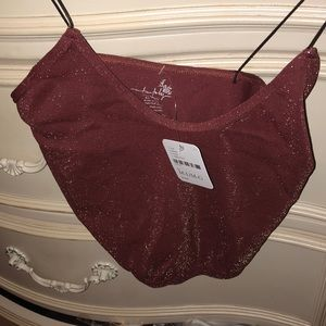 Free people burgundy gold sparkle tank crop!